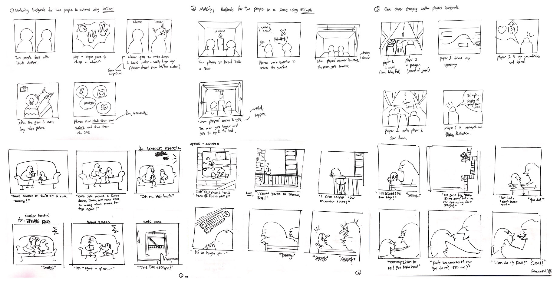 Last row of storyboards are my own.