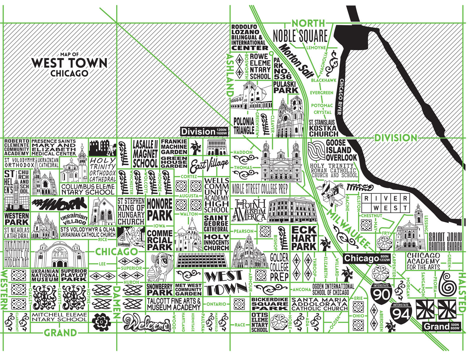 West Town Map -  Purchase a map here