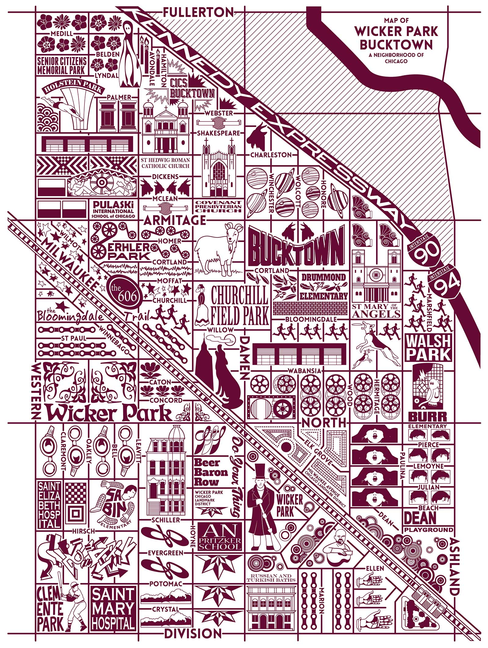 Bucktown and Wicker Park Map-  Purchase a map here