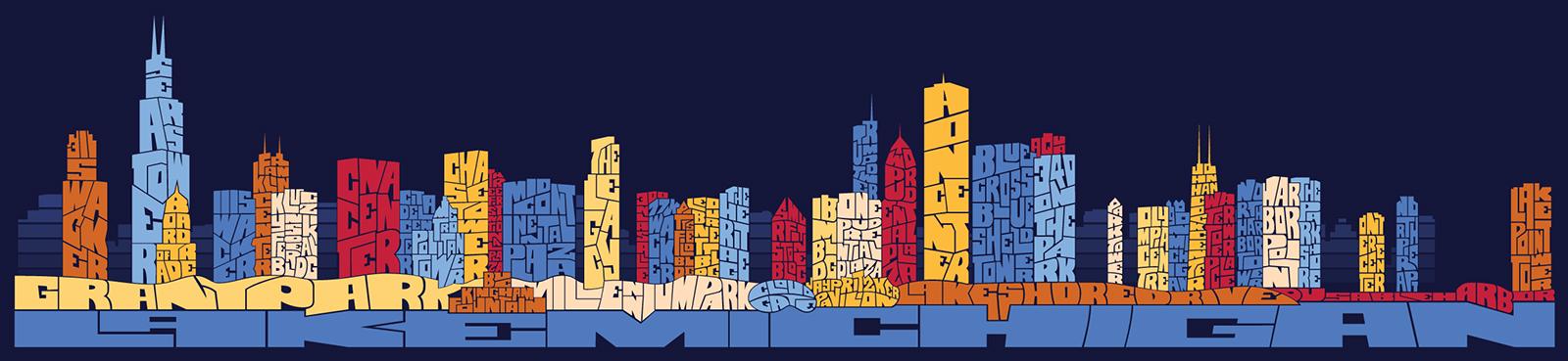 Chicago Typography Skyline