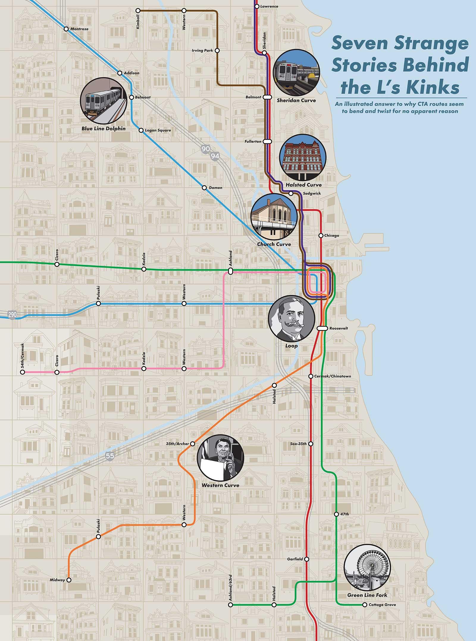 Chicago 'L' Kinks Map