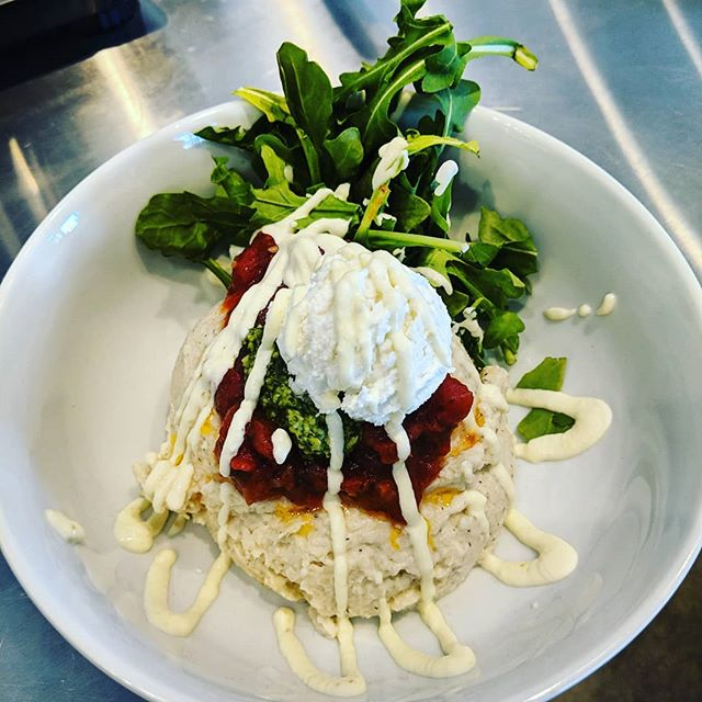 Sunday will be our first official day of business! Come help us celebrate with a decadent, low carb-high flavor cauliflower mash bowl! Rich cauliflower mash, with bruschetta, pesto, goat's cheese, arugula and a jalapeño-garlic aioli.