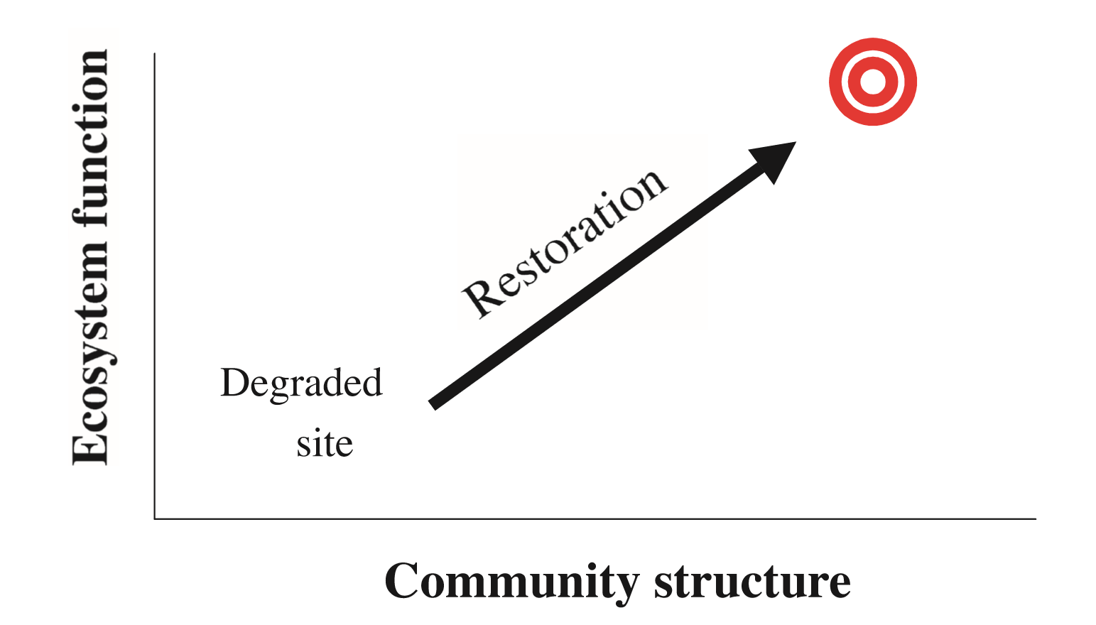 Fig. 1: Simplification of Bradshaw's (1984) model of restoration, where an intervention project (the restoration) turns a degraded site, with nearly zero ecosystem function and community structure, to a more desirable state (the target) with increased community structure and function. Community structure generally refers to the number of species in the community and ecosystem function is the number of processes (e.g. pollination, nutrient cycling) these species provide. Reproduced from Zedler et al. 2007.