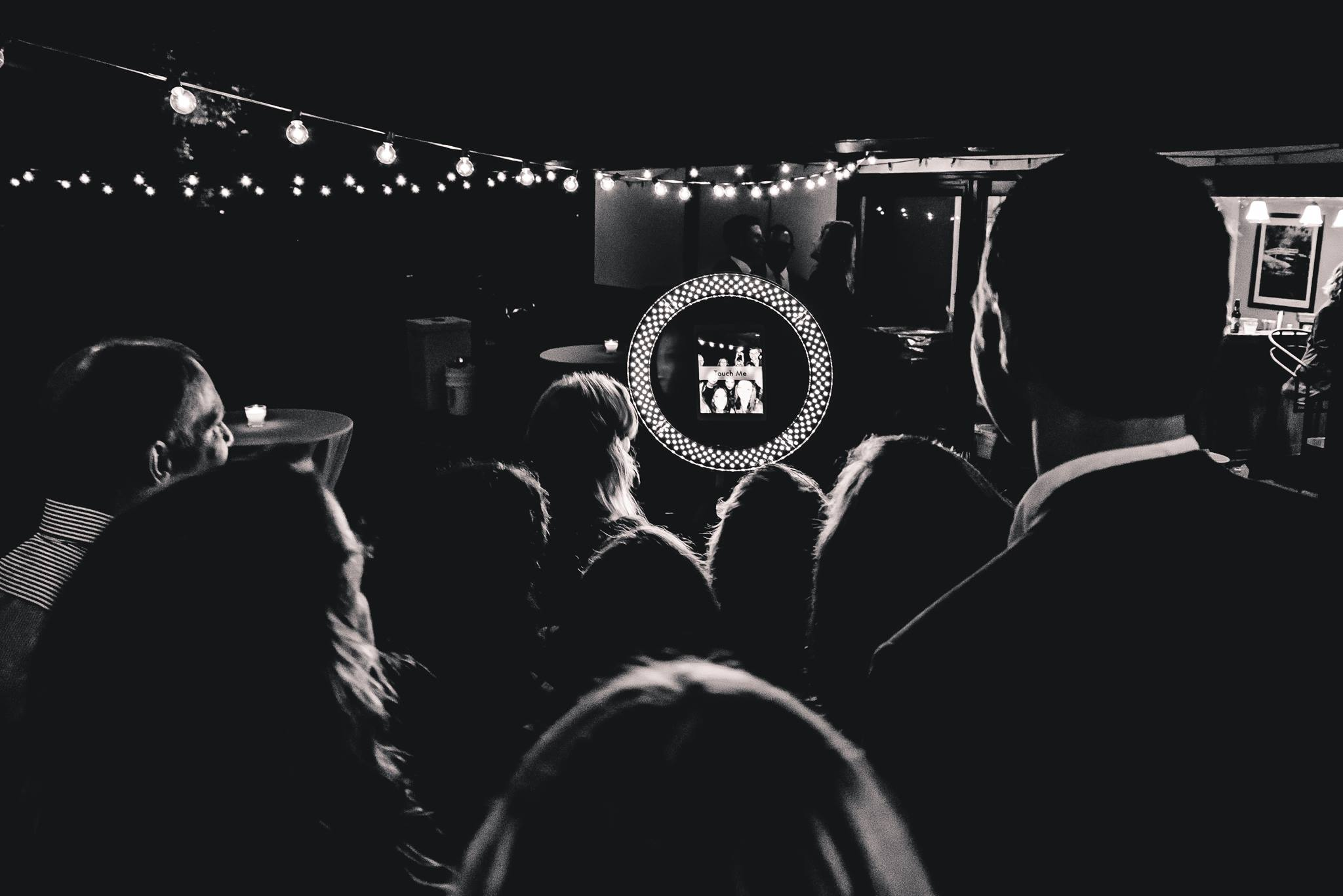 It's not that boringphoto-booth - GIF is the new thing and its not that printing photo booth which sits outside and takes your dancefloor outside in the lobby. You can put next to the bar or dance floor so action is captured