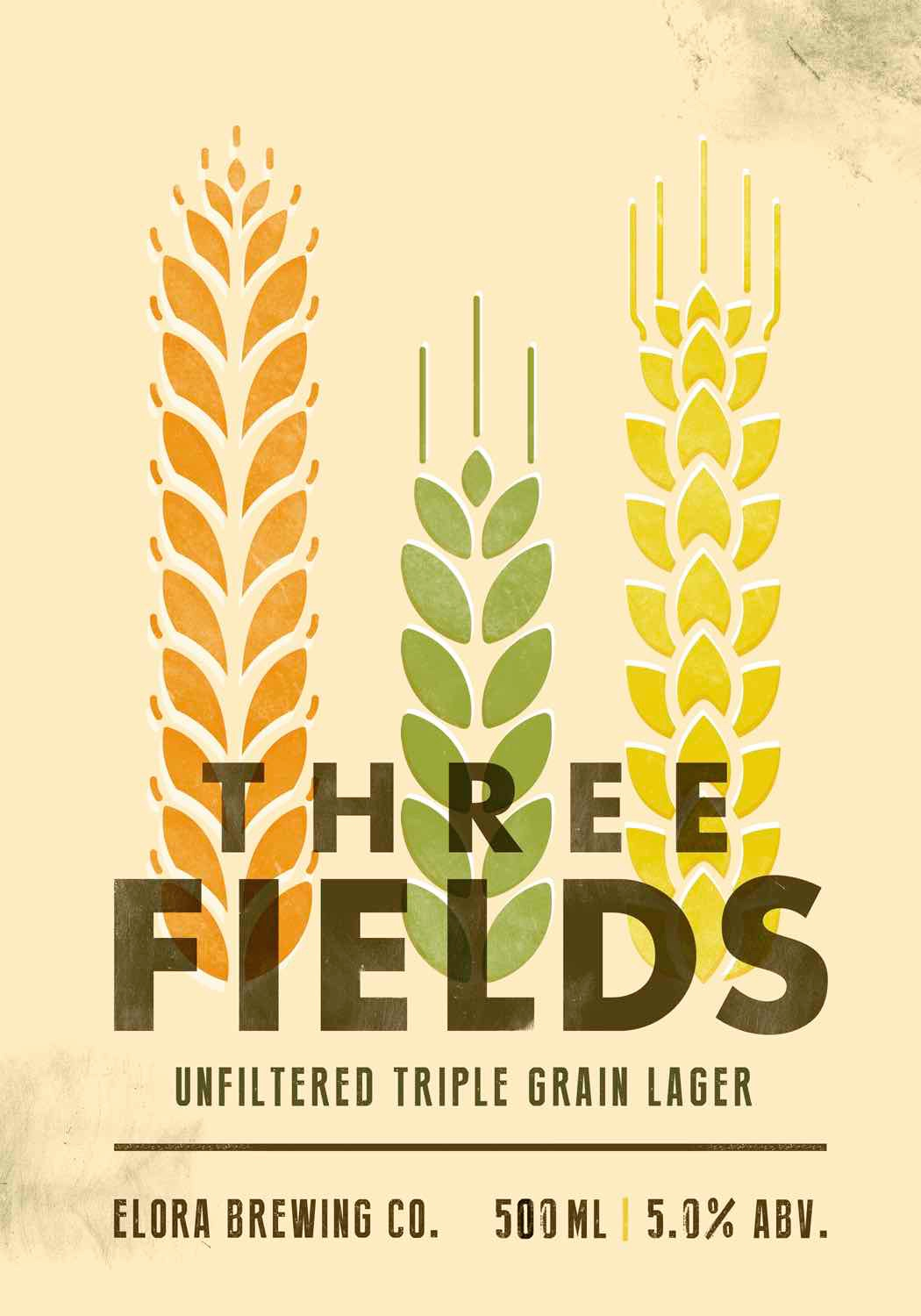 ON TAP: YES  IN THE FRIDGE: NO  A unique blend of barley, rye, and wheat, Three Fields is a distinct lager that captures the rich agricultural heritage of Elora. Experience a smooth and balanced mouth feel that finishes light, crisp, and refreshing.  4.5% ABV