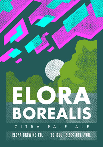 ON TAP: YES  IN THE FRIDGE: YES  GOLD MEDAL - AMERICAN PALE ALE - ONTARIO BREWING AWARDS 2018.  Elora Borealis is a lightly malted pale ale that is bittered, flavoured, and dry-hopped exclusively with Citra Hops. A bright, floral nose gives way to crisp, light malt flavours and finishes with several citrus notes.  5.1% ABV