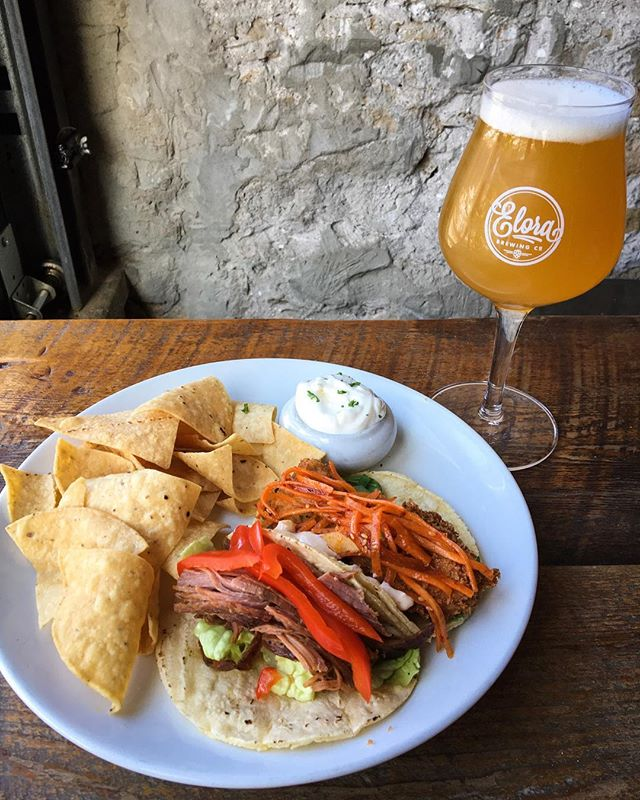 Who's in the mood for TACO TUESDAY?! 👏 This week's features are... 🌮V - panko fried tofu with sesame carrots and arugula 🌮M - slow roasted ham with pickled red peppers, crumbled feta and romaine lettuce . Pair those with our newest LODESTAR SOUR ALE with PASSIONFRUIT for one heck of a good Tuesday 🍻😍 Open 11am - 11pm! . . . #elorabrewingcompany #elora #visitelorafergus #discoverON #drinklocal #drinkcraft #craftbeer #explorecanada #localtourist #519local #discoverontario #escapetoronto #escapeTO #blogto #beer #beerme #beerstagram #beeroclock #eatlocal #cheatday #yum #nomnom #instafood #foodie #localeats #eloraeats #comfortfood #cravings
