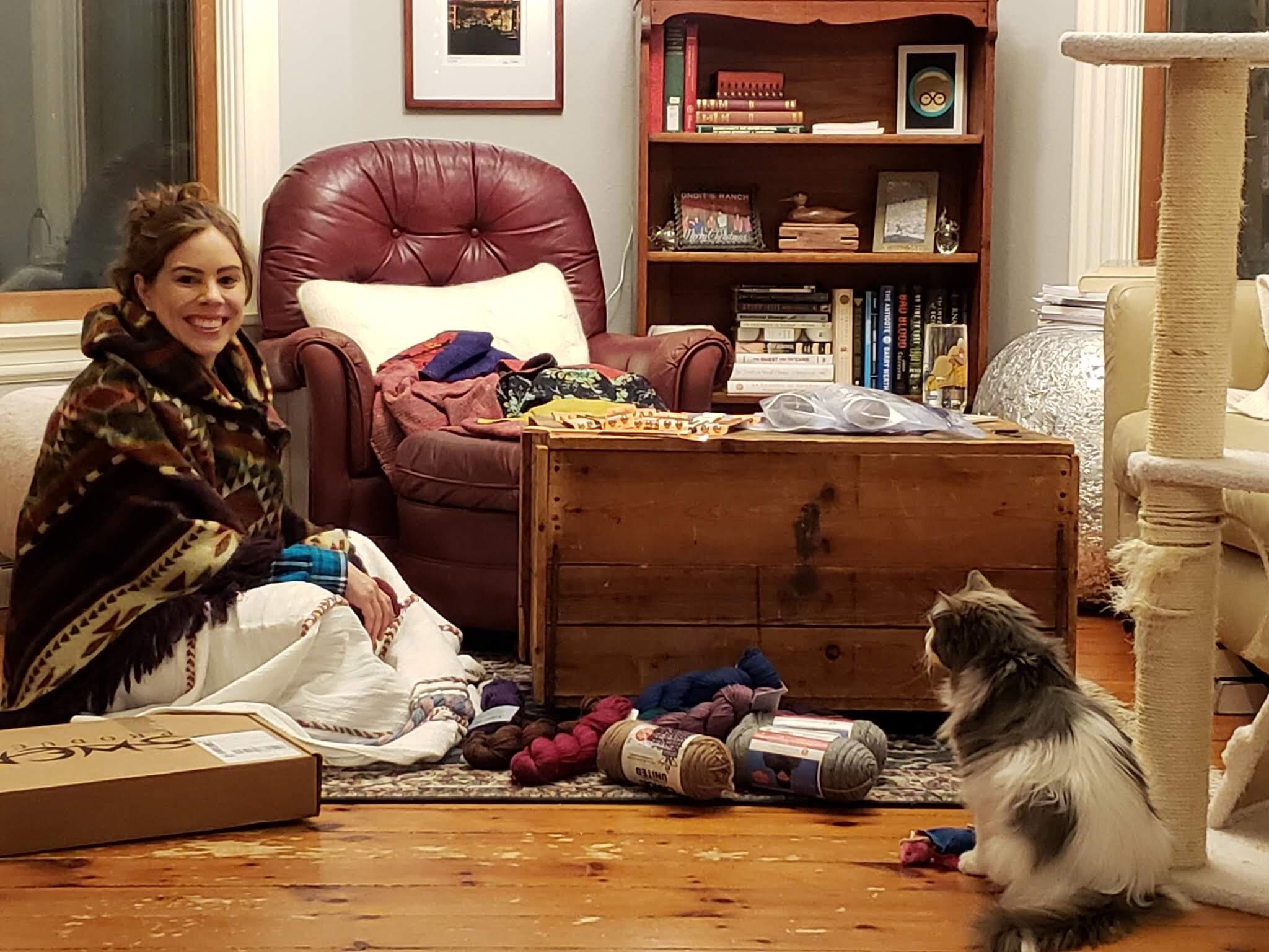 Winston supervises Let's Knit Kit assembly