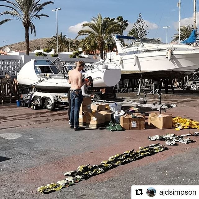 #Repost @ajdsimpson (@get_repost) ・・・ Morning All,  Apologies for any possible confusion to recent posts. We are not leaving yet! We are down in Gran Canara and the marina we will be leaving from.  Over the next few days we will be packing storm and sctruneering her making her ready to leave. Yesterday we packed on about 40 days worth of freeze dried food and today we are going through the rest of 'loose equipment' and safety gear.  The plan is to then put her on the water tomorrow and have our first paddle as a team!  The current idea is to leave circa Feb 1. Leaving drinks event to be going out soon. We are back on the UK on Sunday!  I will ask my fellow teammate @jamiegordon92 to repost as I currently can't login due to a new phone!  Lots of love HAC