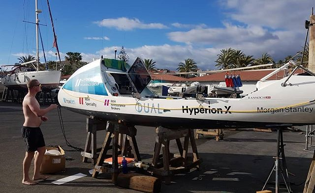 STORM now has her logos on her. Departure imminent. Looking like Tuesday morning. Fingers crossed the wind doesn't change. #hyperionatlanticchallenge #oceanrowing