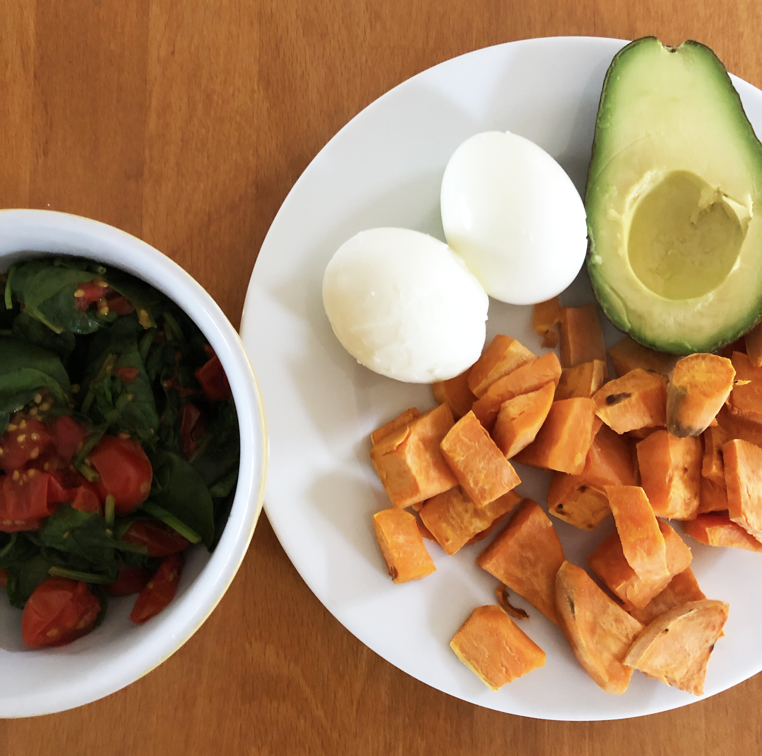 Lunch: Eggs, avocado, yam, spinach and cherry tomatoes - Hmm this is awkward I don't know what to say, just that my eggs look kinda weird and so does the whole spinach-tomato situation over there. I'm just gonna go now, see you tomorrow.