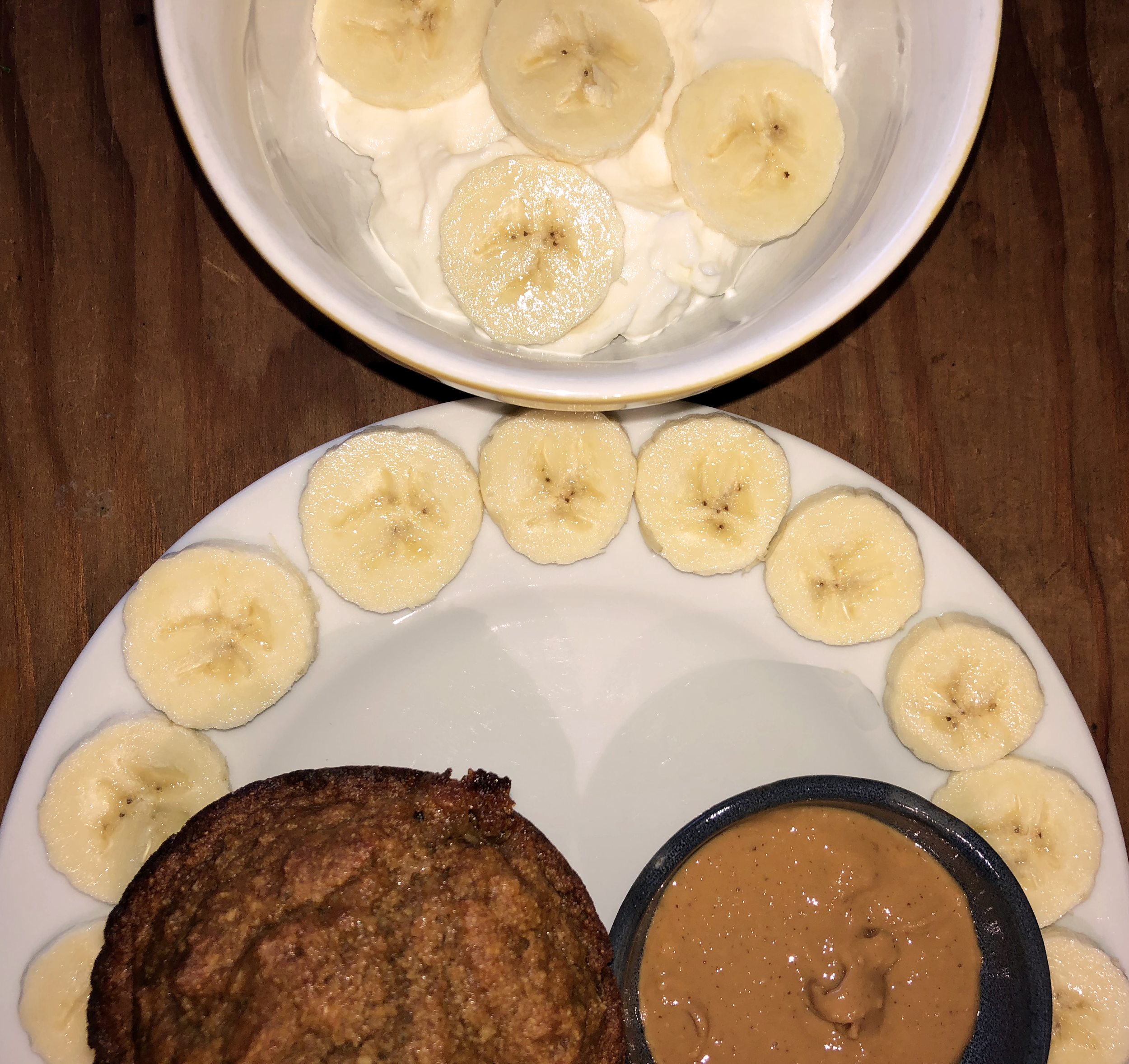 Breakfast: Banana, greek yogurt, peanut butter and a carrot muffin - The longer you stare at a banana slice, the more it looks like a Shih Tzu's face. Also, I tried to do the pretty plating thing again like yesterday's breakfast, but the jury is still out on whether I was successful or not. Good thing this post is almost over. You're doing great, keep reading!