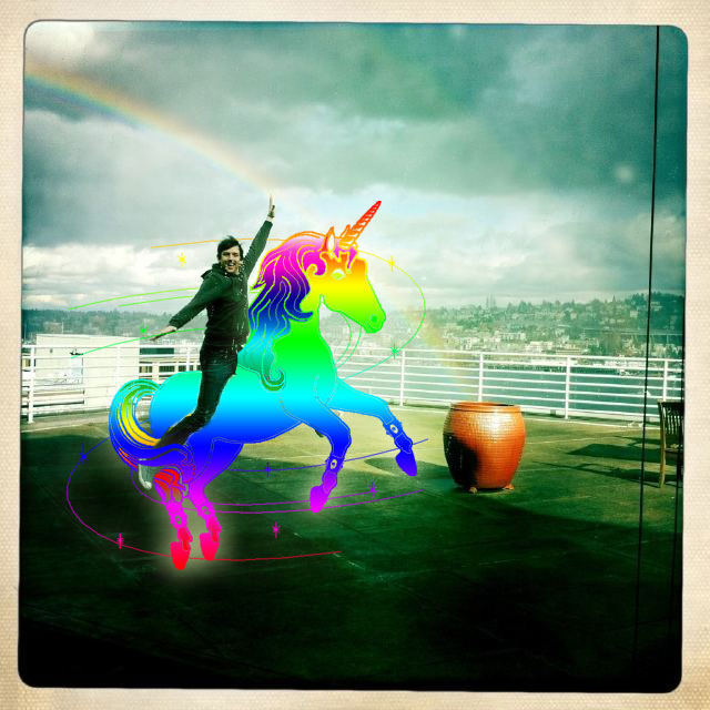 Joe Day  on a unicorn with a double rainbow. Just. Beautiful.    Shared by luzbonita