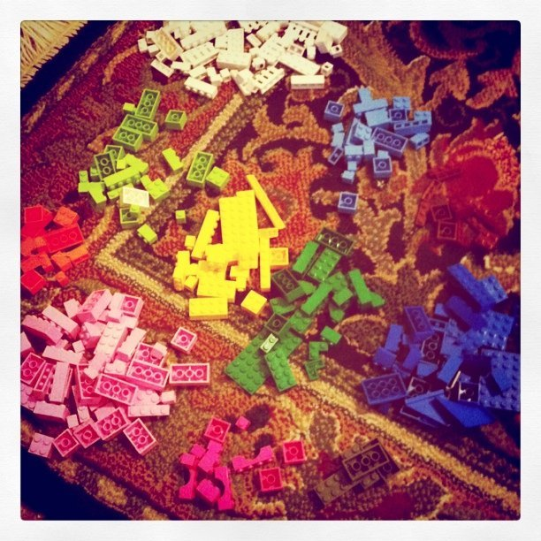 Eve's Legos sorted by color (Taken with  instagram )