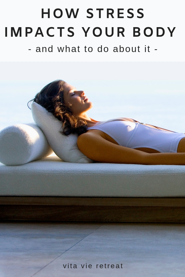Woman relaxing to reduce stress in her body.
