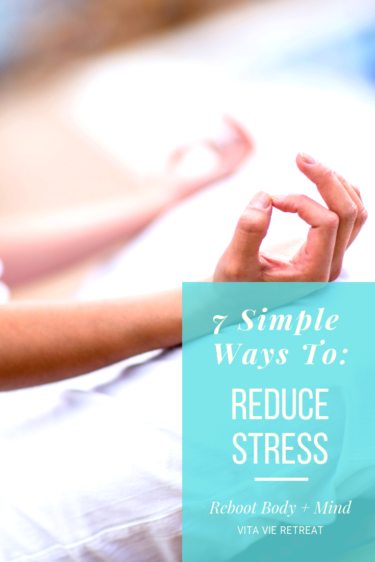 Meditating as a way to help reduce stress.