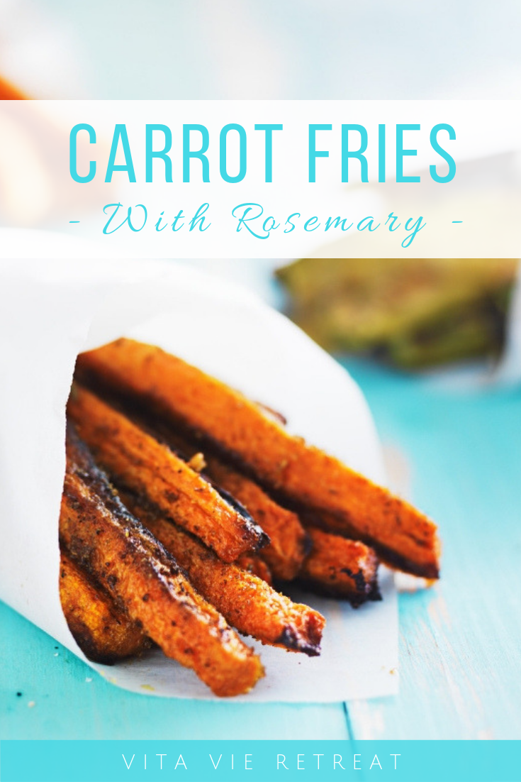 Carrot fries that have been baked with rosemary.