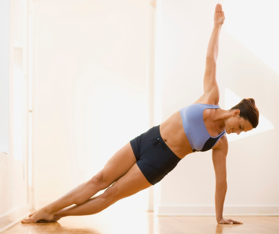 Side plank is part of the core burn workout.