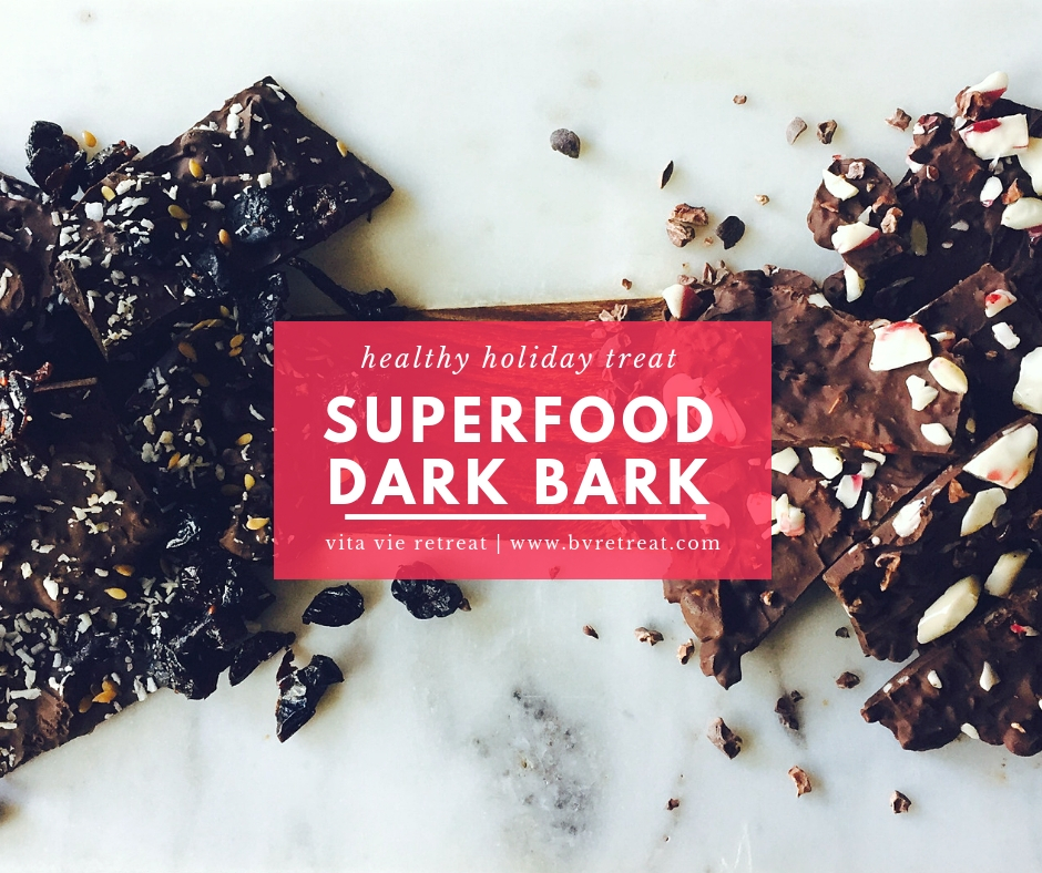 Two kinds of dark bark with superfoods.