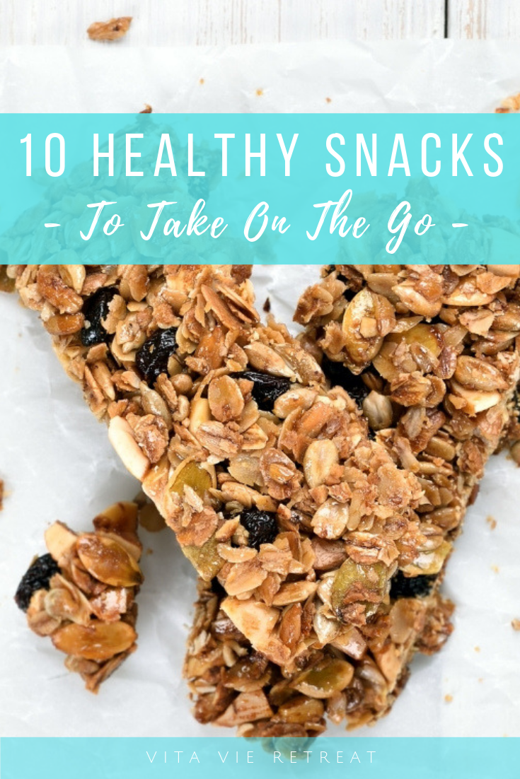 Healthy protein bars are easy to take on the go.