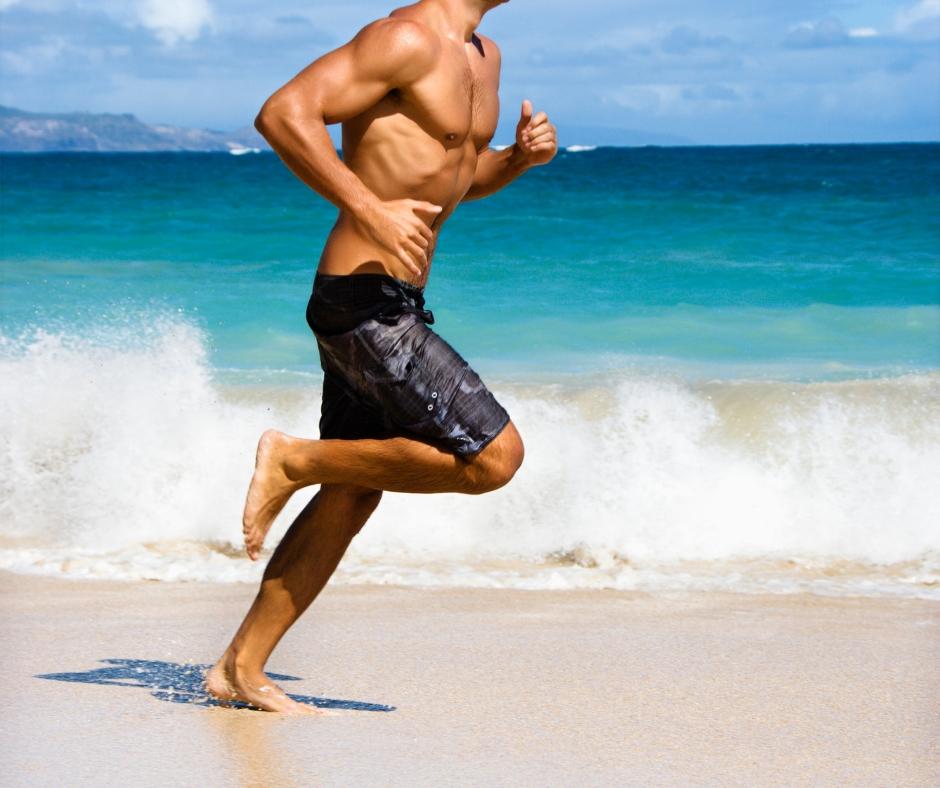 Man running during quick cardio workout.