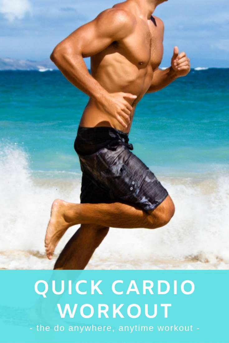 Man warming up on beach for quick cardio workout.