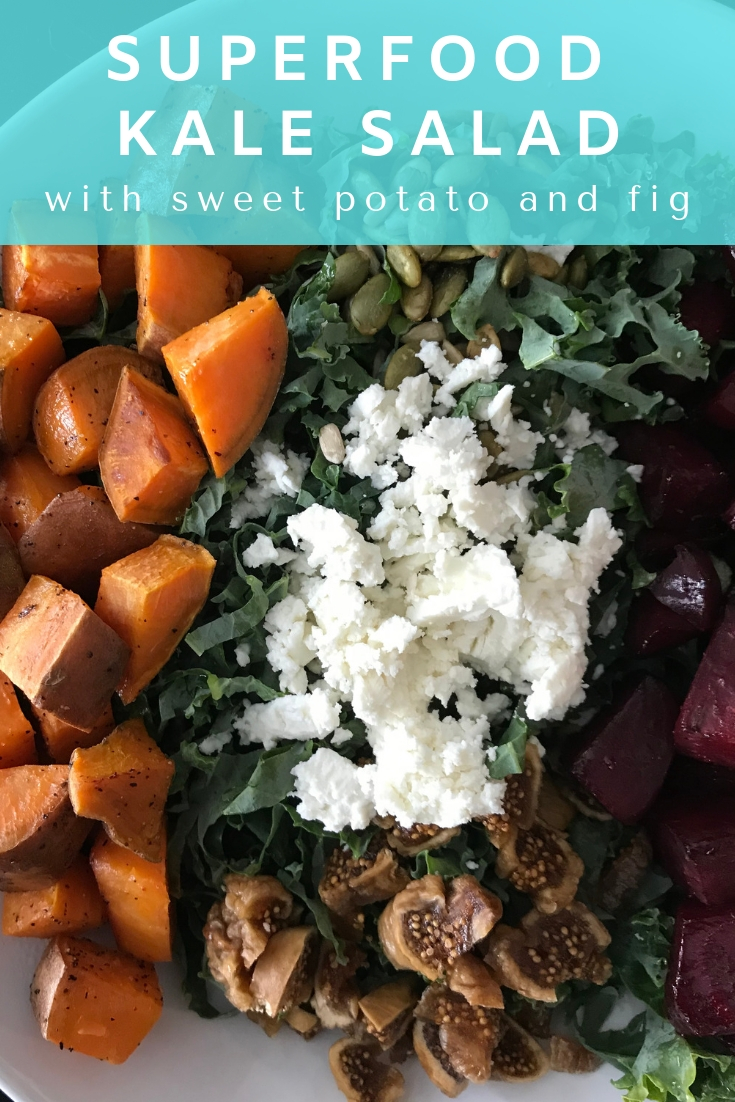 Salad loaded with nutrient dense sweet potato, fig, beets and more.