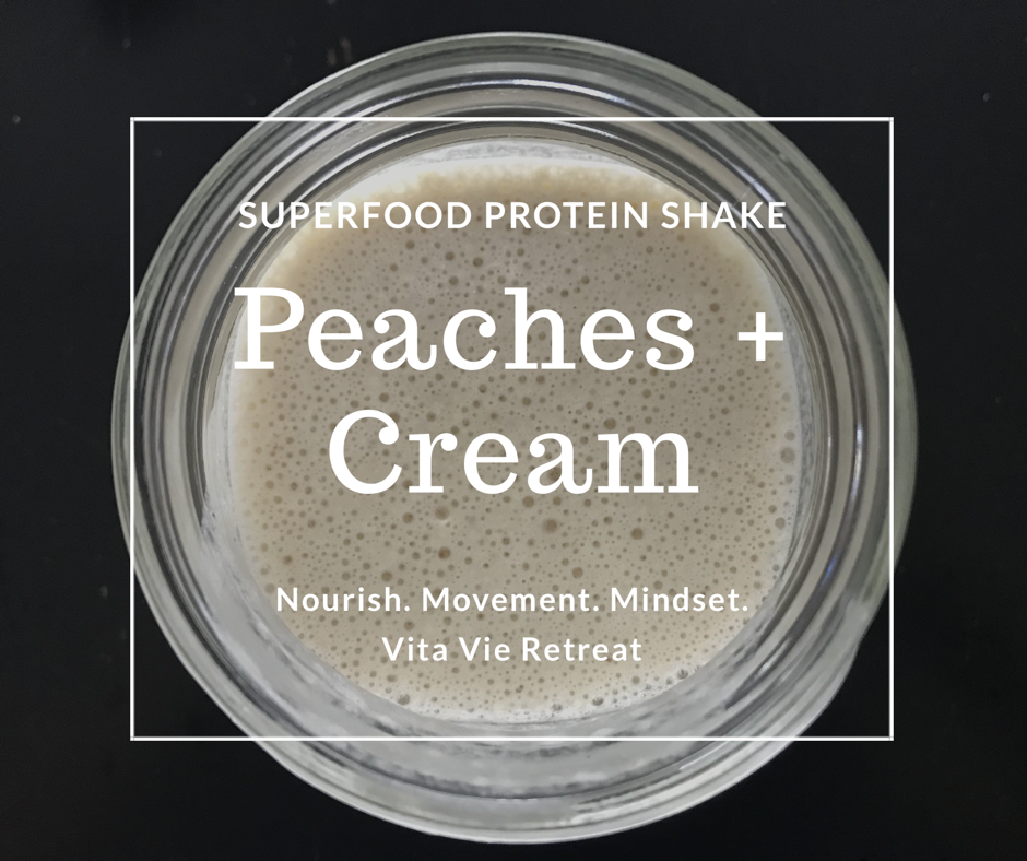 Protein shake with peaches and almond milk.