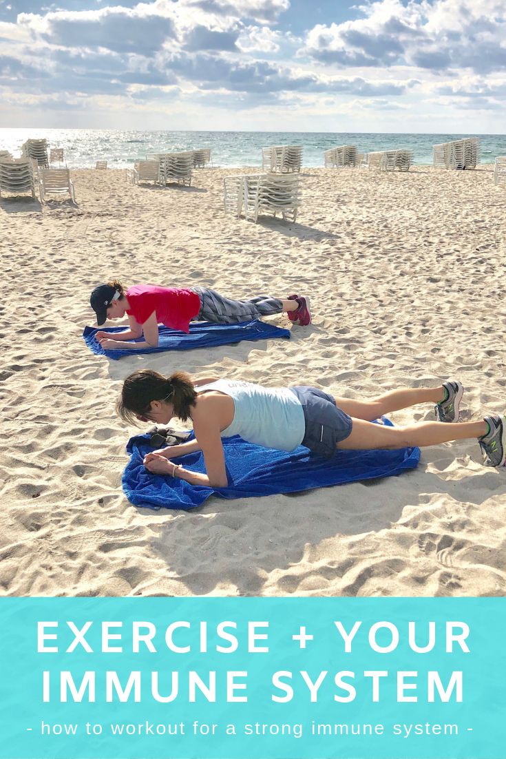Women exercising on the beach.