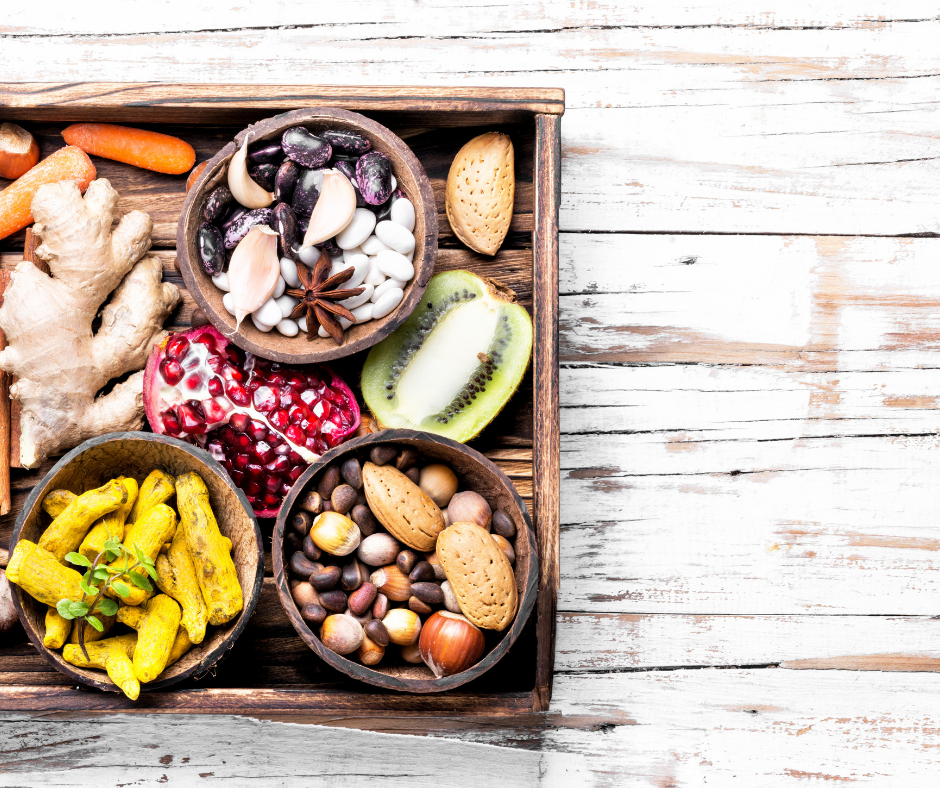 Nuts, seeds and fruit are staples of plant based eating.