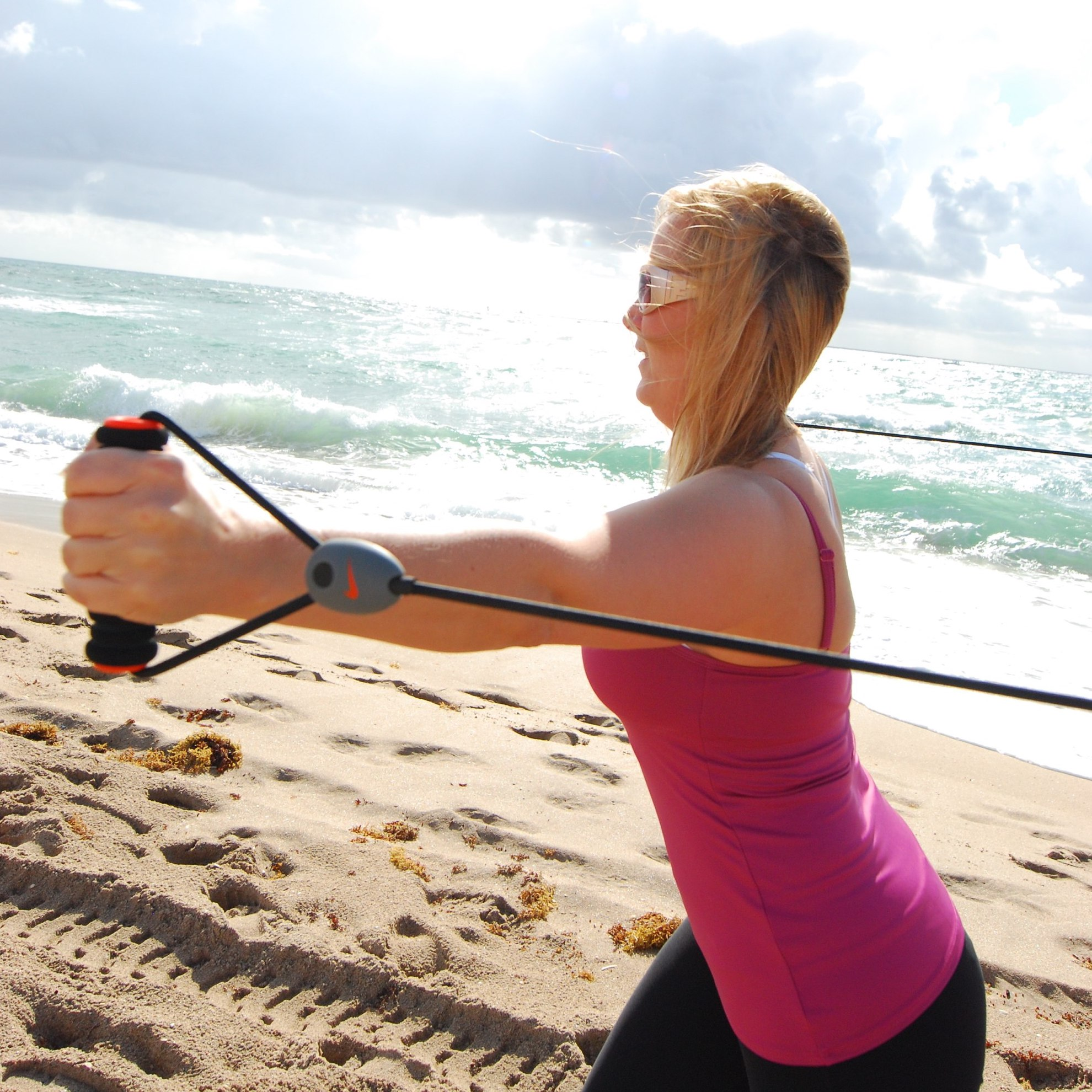 Resistance Band training session at beach.