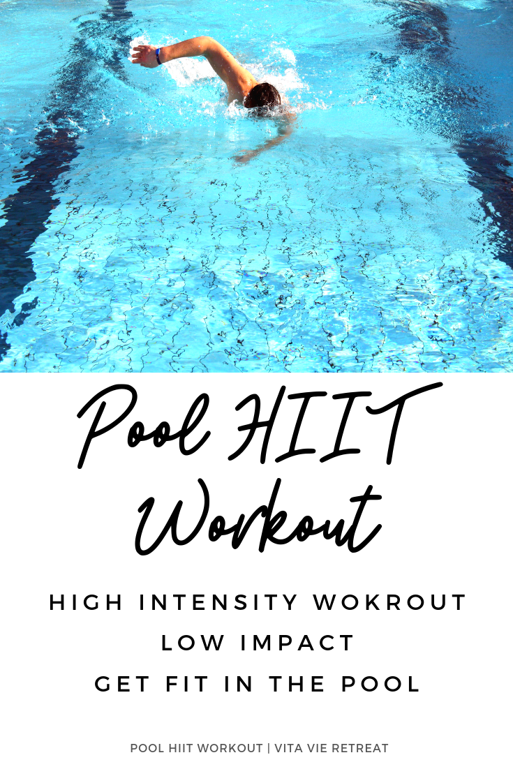 Man doing Pool HIIT workout in the pool.