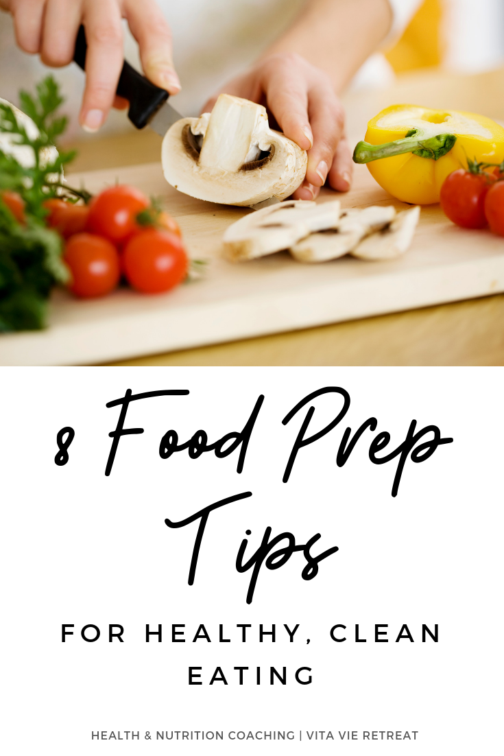 Woman doing food prep for clean eating.