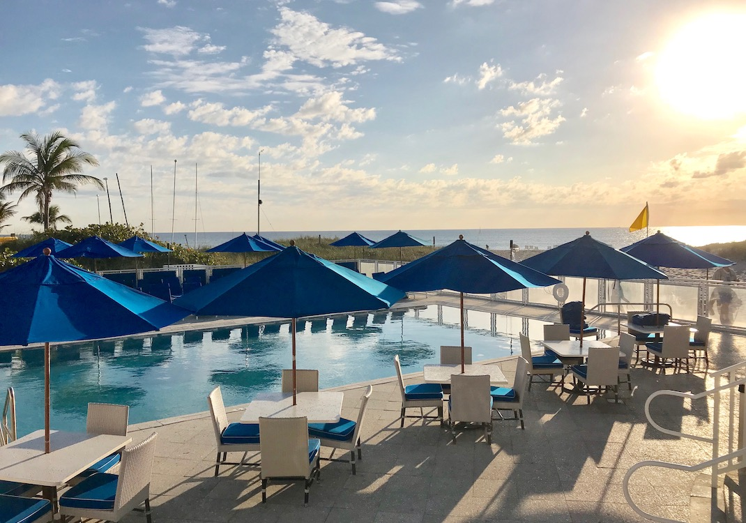 Guests can enjoy the beach club pool during their fitness vacation in Florida.