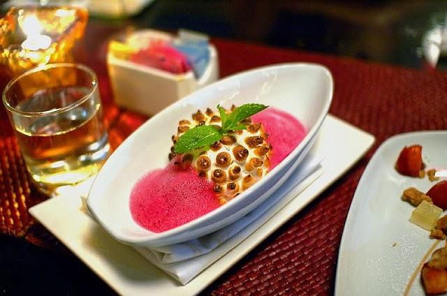 Baked Alaska, Lavender Ice Cream, Hibiscus Foam. Source:  Ulterior Epicure