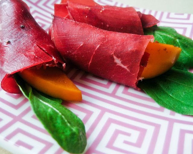 Bresaola and Persimmons. Source:  Megg .