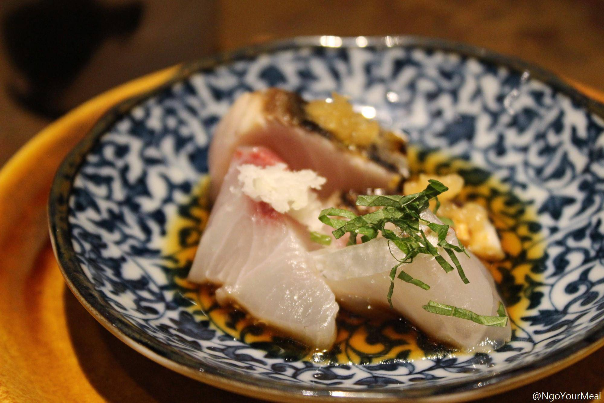 Blanched Sea Bream with Shiso, Spanish Mackerel with Mustard and Grated Apple, Kanpachi at Mecha Uma in the Philippines