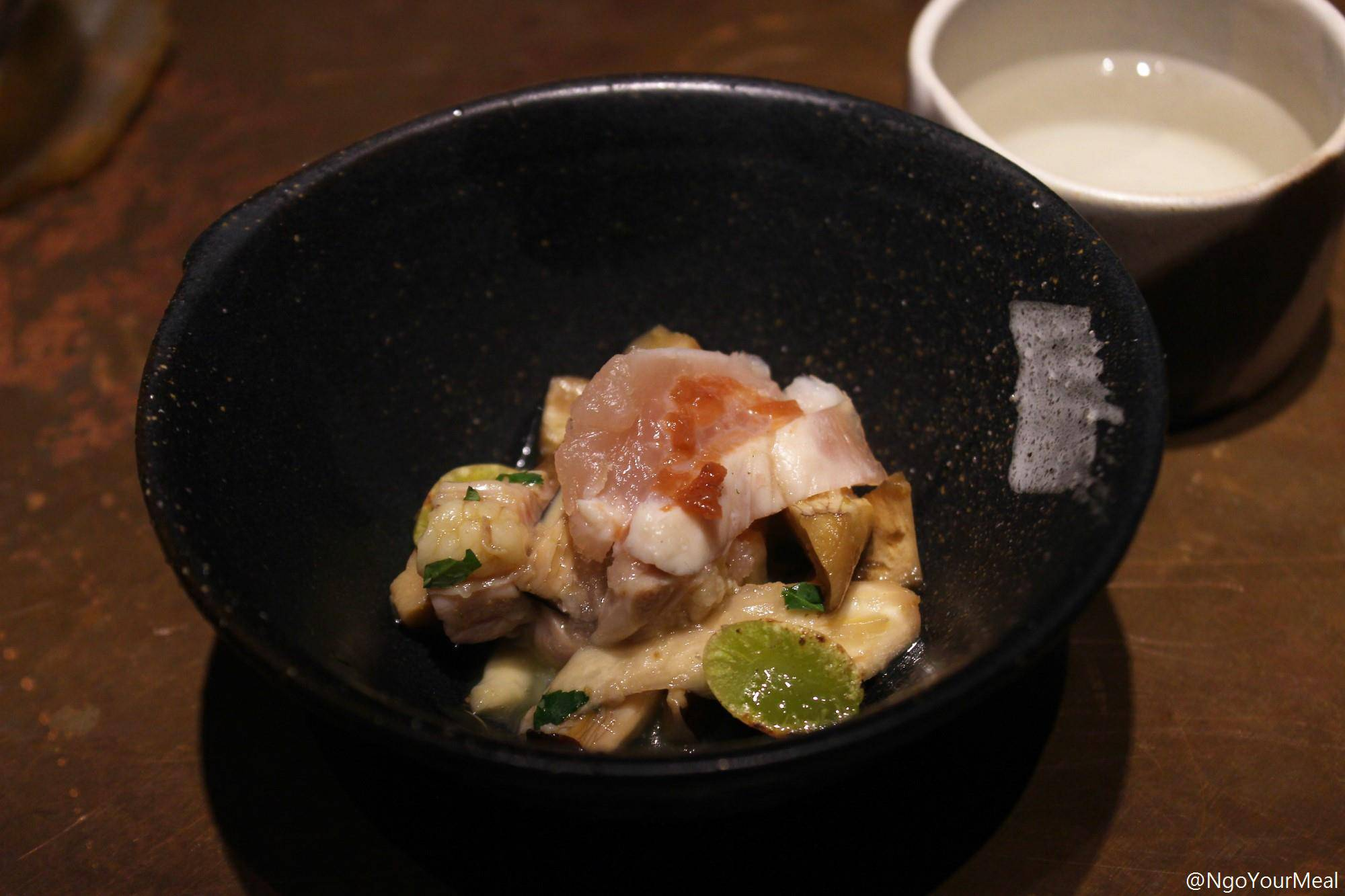 Lightly Seared Chicken Breast Sashimi, Blanched Chicken Neck, Sake and Pear Jelly, Ginkgo Nuts at Mecha Uma in the Philippines