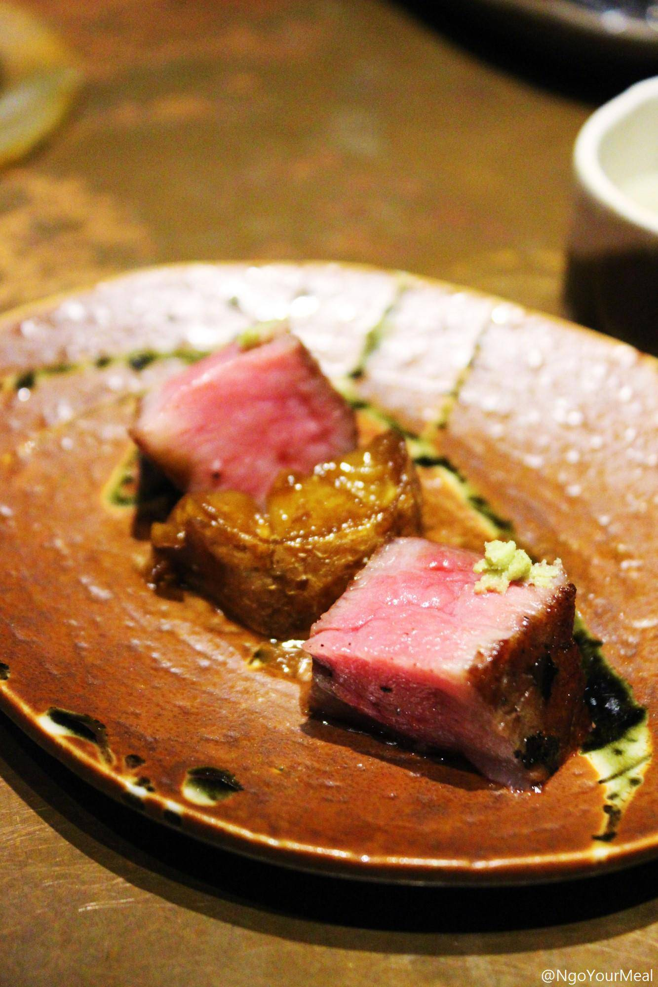 Matsusaka Beef with Cabrales Cheese Glazed Potato at Mecha Uma in the Philippines