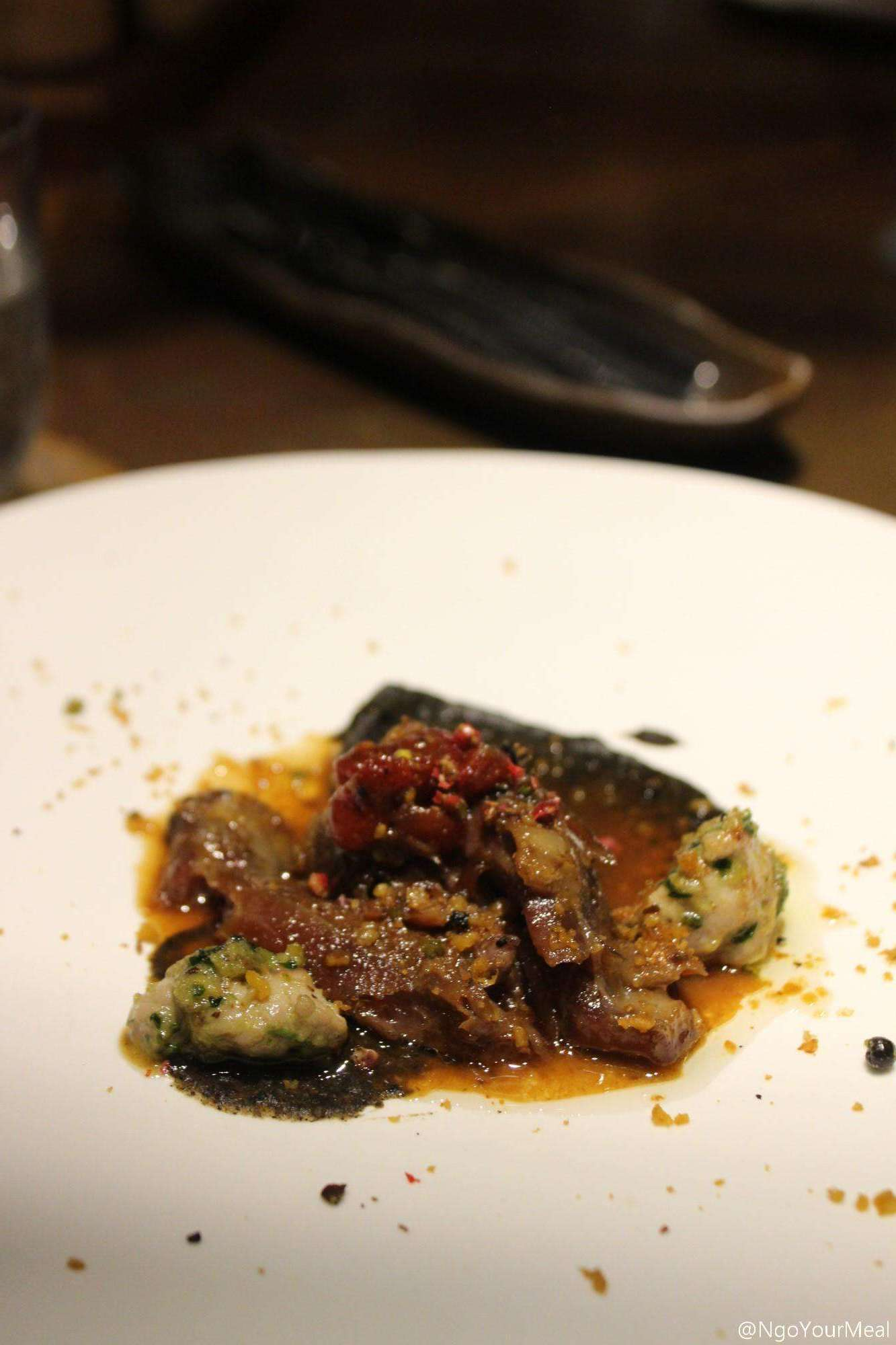 Slow Cooked Lamb with Sweetbreads, Burnt Eggplant, Purée of Garbanzo Beans at Mecha Uma in the Philippines
