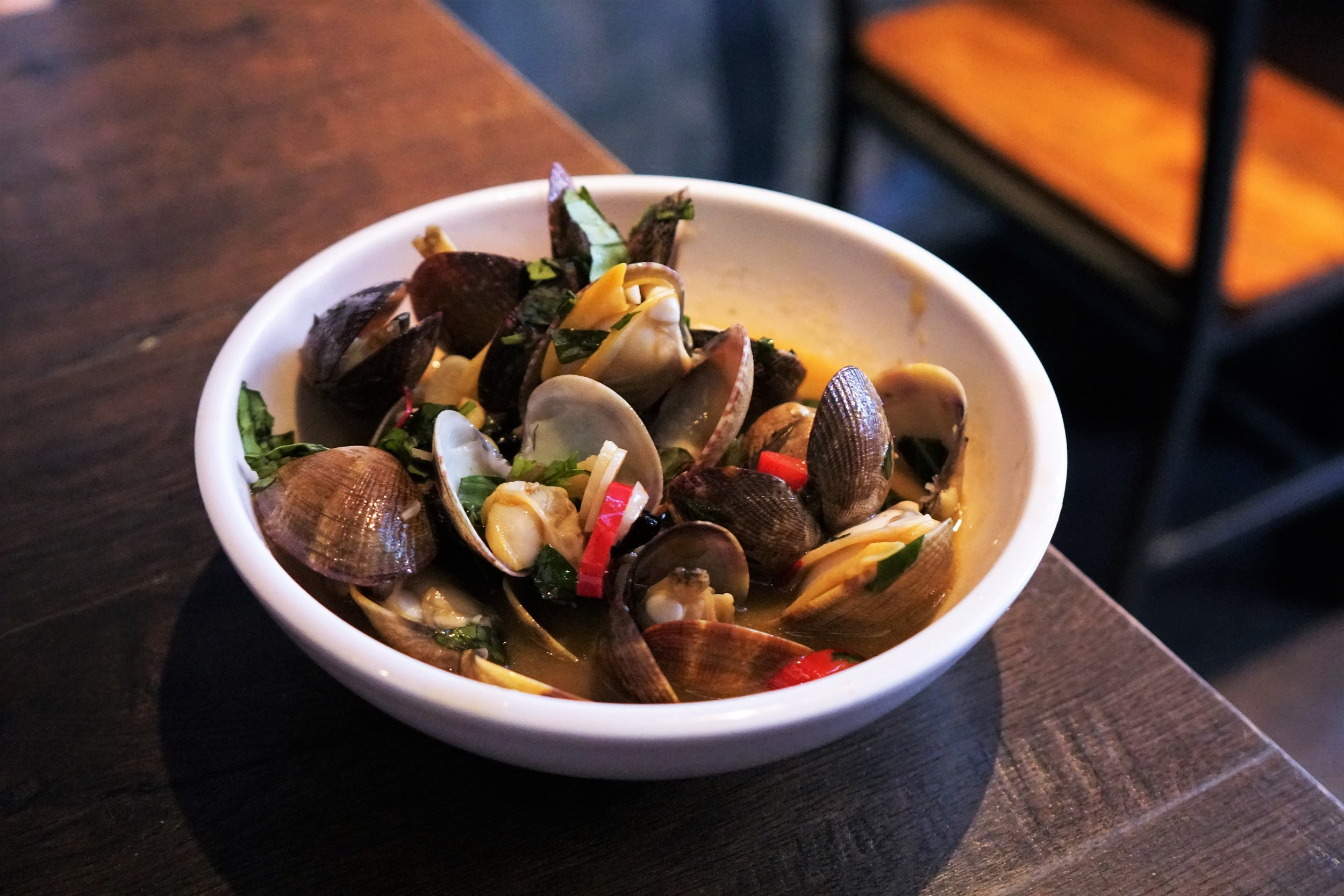 Drunken Clam and Thai Basil at 886 in New York City