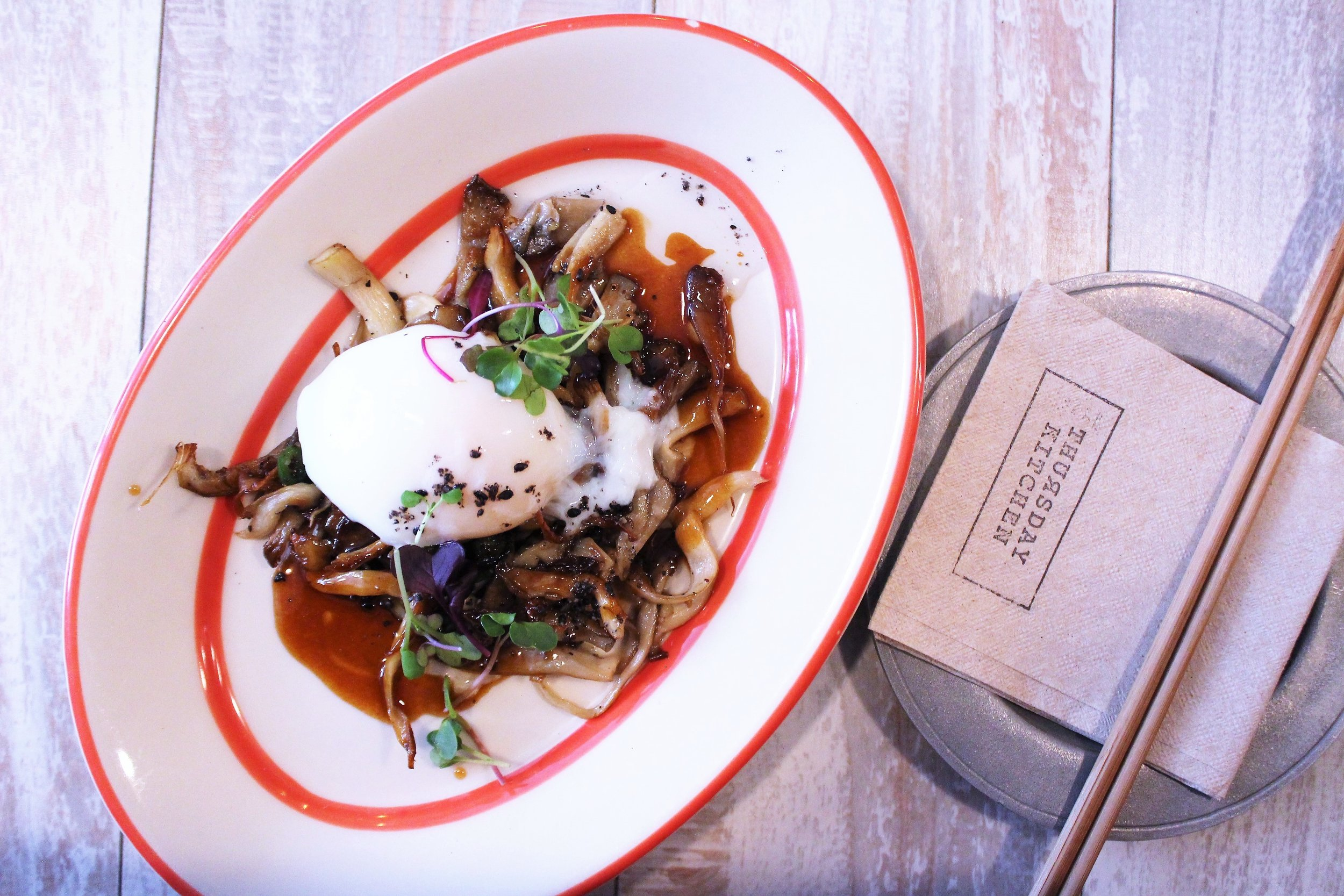 Mushroom Sautéed Oyster Mushroom with Poached Egg and Truffle Infused Kabayaki Sauce at Thursday Kitchen in New York City