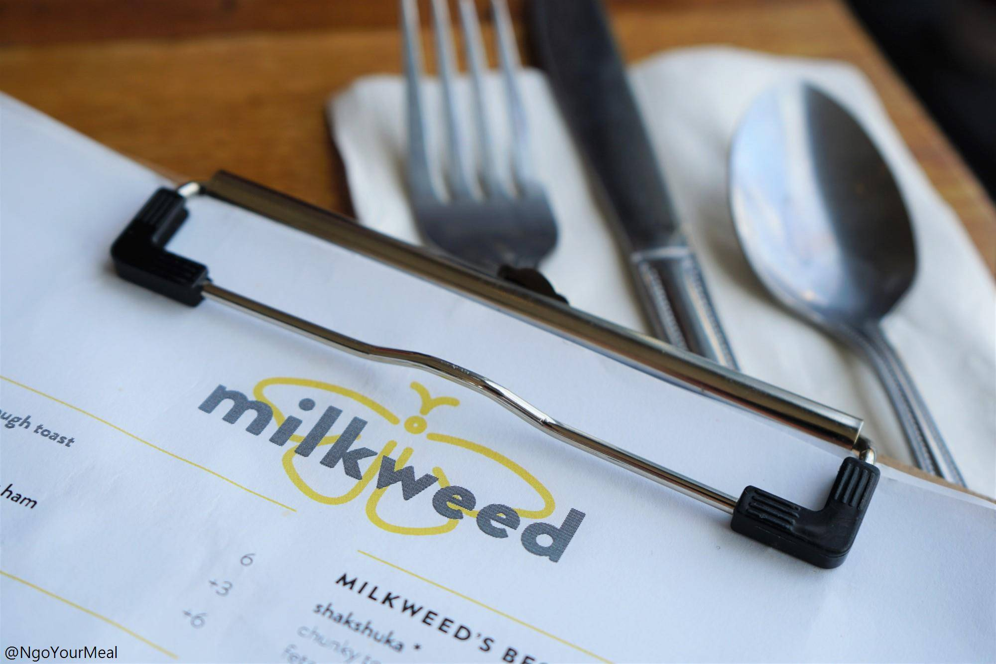 Menu at Milkweed in Boston