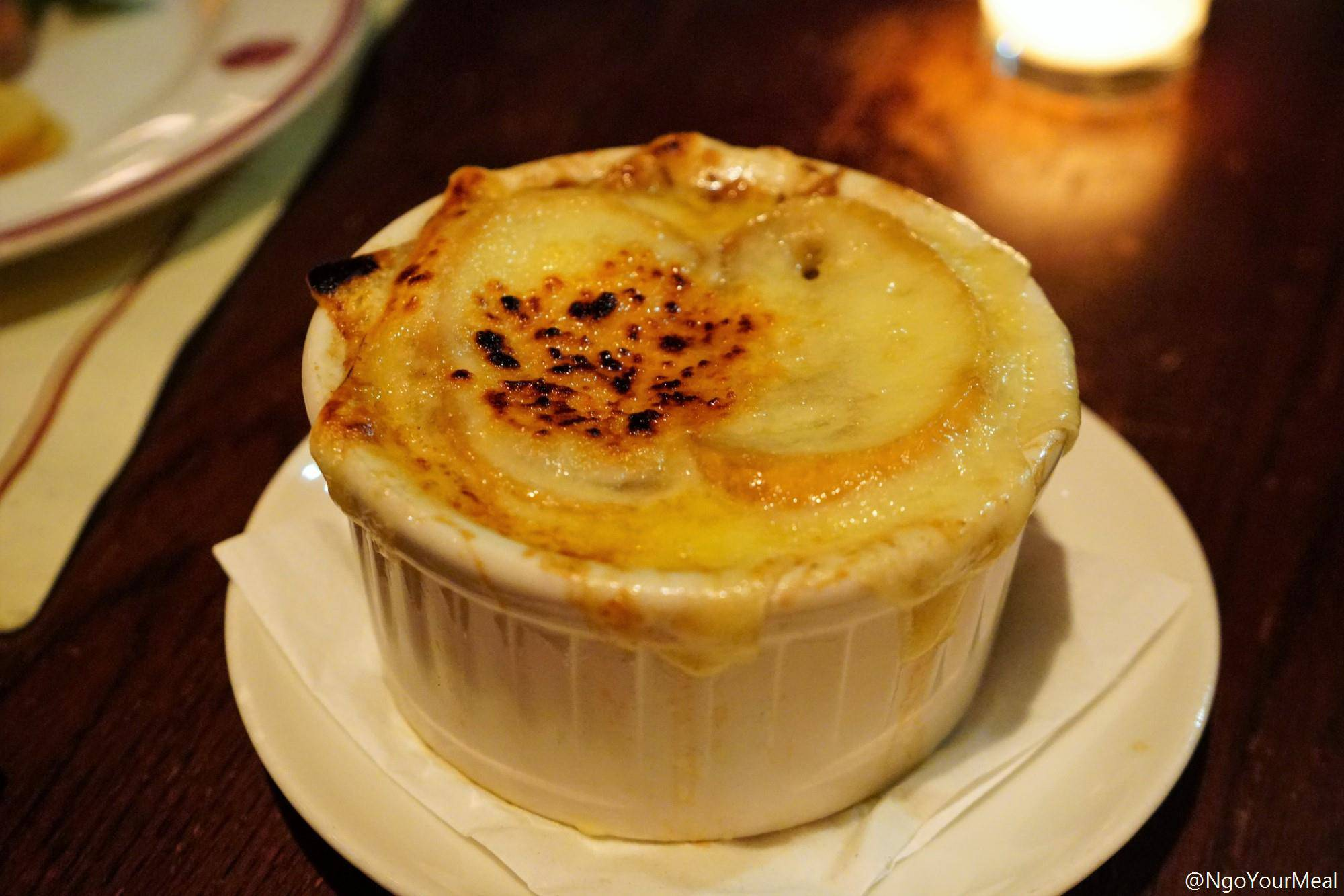 French Onion Soup with Truffled Short Rib at Gaslight in Boston