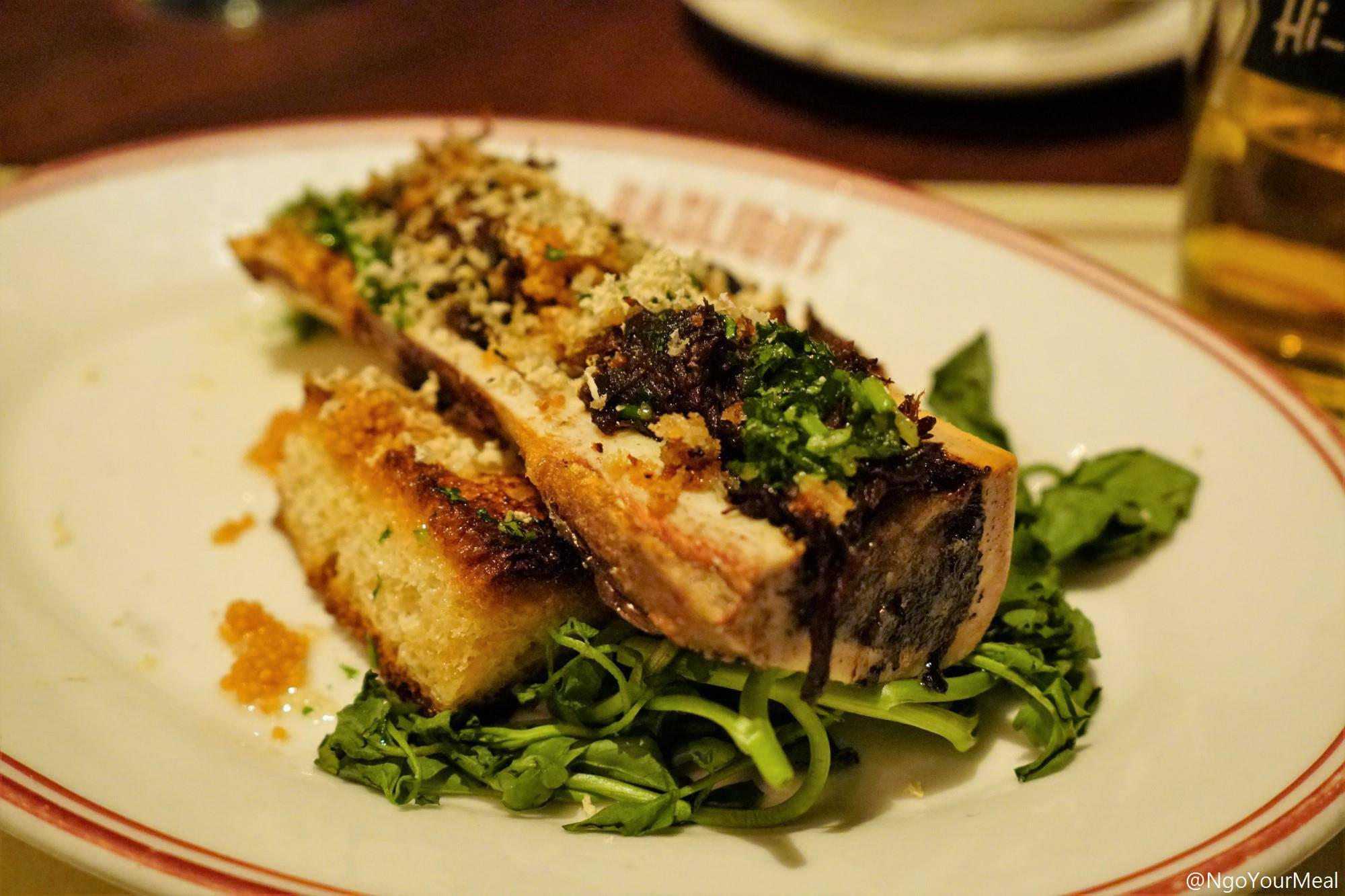 Bone Marrow with Oxtail Marmalade, Horseradish, and Gremolata at Gaslight in Boston