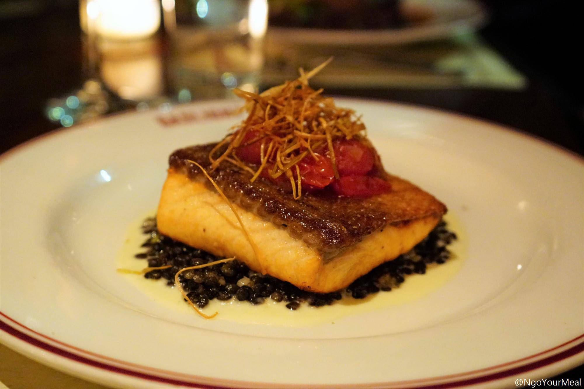 Pan-Roasted Salmon with French Lentils, Leek Soubise, Blistered Cherry Tomatoes, Crispy Leeks at Gaslight in Boston