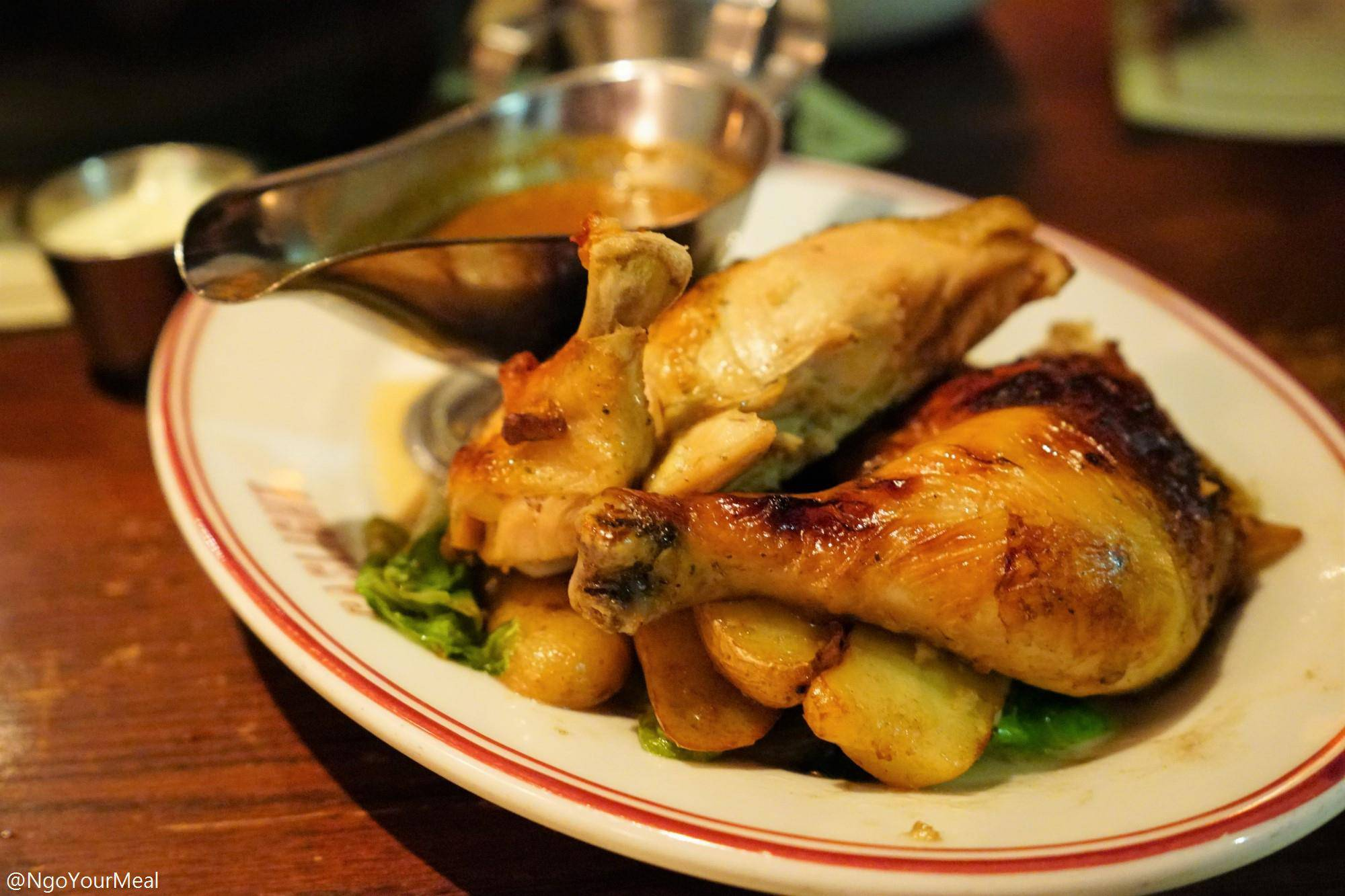 Rotisserie Chicken with Smoked Fingerlings, Escarole, Moutarde Violette at Gaslight in Boston