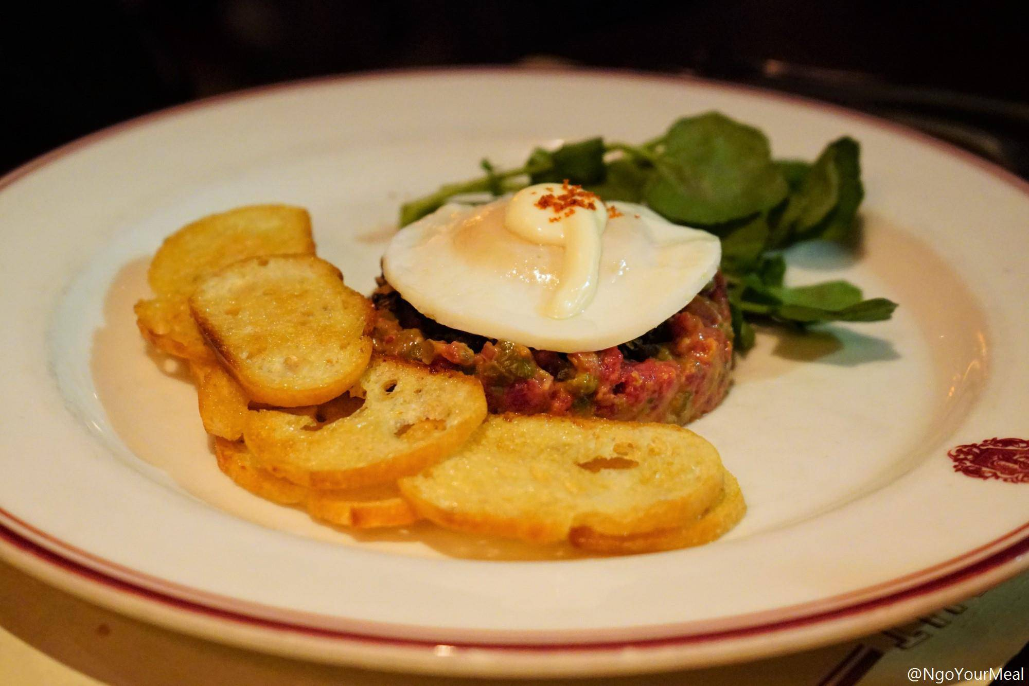 Steak Tartare with Mushroom Duxelles, Croutons, Aioli at Gaslight in Boston