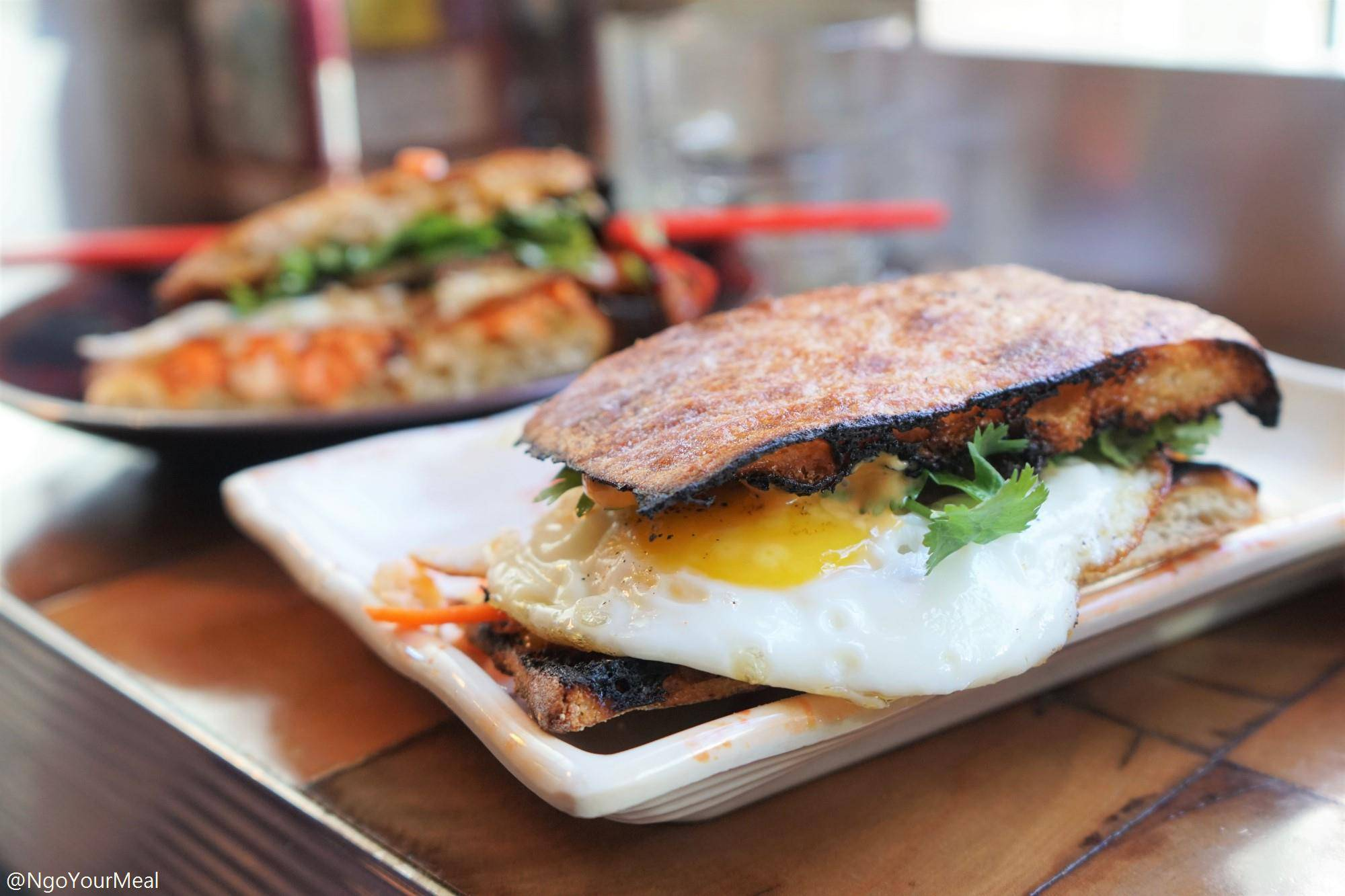 Fried Egg Banh Mi with Soy Glazed Bacon at Myers and Chang in Boston
