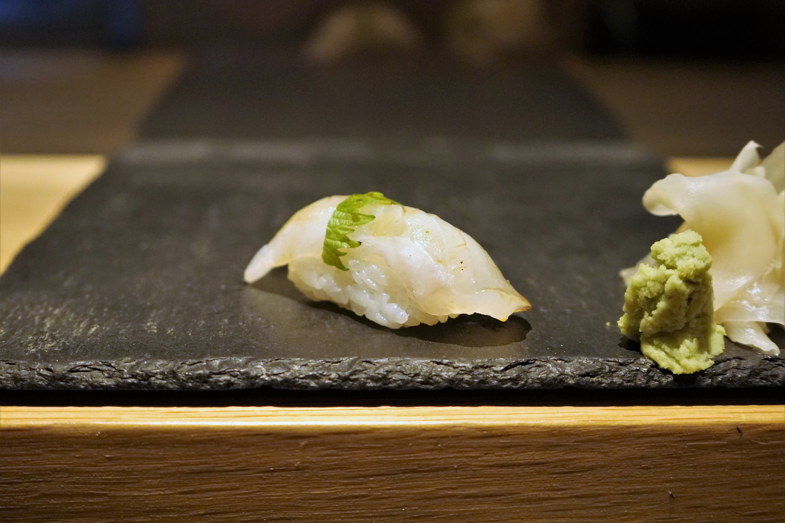 Hirame Sushi with Shiso at DOMODOMO in New York City